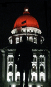Madison Capitol at night with the dome illuminated red!